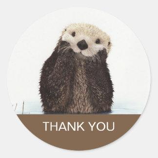 Adesivo Redondo Obrigado bonito da imagem dos animais selvagens da