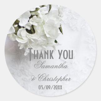Adesivo Redondo Obrigado branco do casamento do buquê floral você