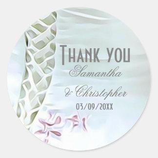 Adesivo Redondo Obrigado branco e cor-de-rosa do casamento você