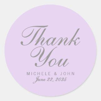 Adesivo Redondo Obrigado chique simples do Lilac você favorece