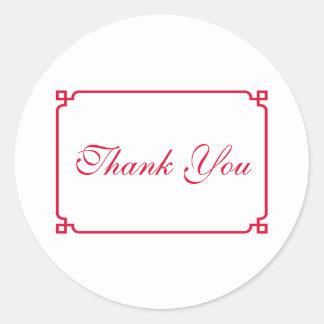 Adesivo Redondo Obrigado chique vermelho do casamento de Deco você