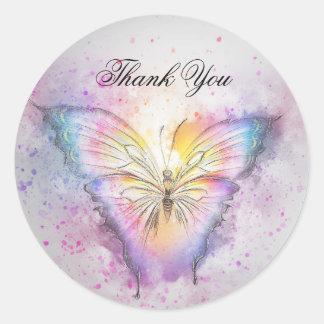 Adesivo Redondo Obrigado colorido original da borboleta da