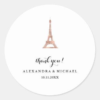 Adesivo Redondo Obrigado cor-de-rosa da torre Eiffel do ouro do