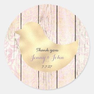 Adesivo Redondo Obrigado cor-de-rosa do casamento do ouro gasto