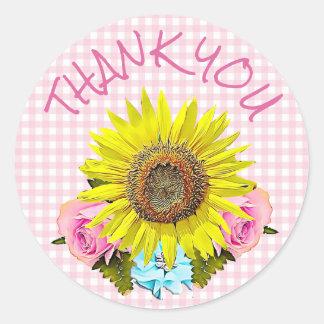 Adesivo Redondo Obrigado cor-de-rosa do girassol do guingão você