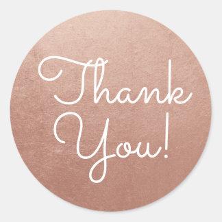 Adesivo Redondo Obrigado cor-de-rosa do ouro você