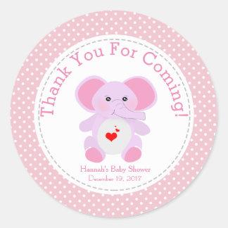 Adesivo Redondo Obrigado cor-de-rosa do partido de chá de fraldas