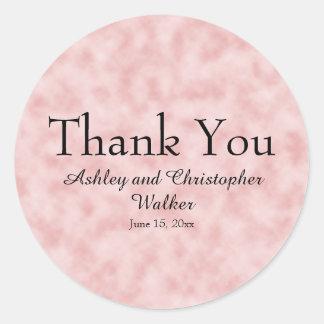 Adesivo Redondo Obrigado cor-de-rosa e branco do casamento/chá