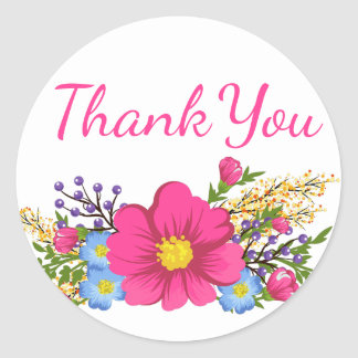 Adesivo Redondo Obrigado cor-de-rosa floral você aguarela floresce