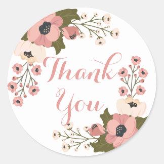 Adesivo Redondo Obrigado cor-de-rosa floral você flores da