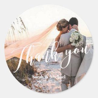 Adesivo Redondo Obrigado customizável do casamento da foto você