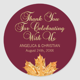 Adesivo Redondo Obrigado da folha de bordo do ouro de Borgonha da