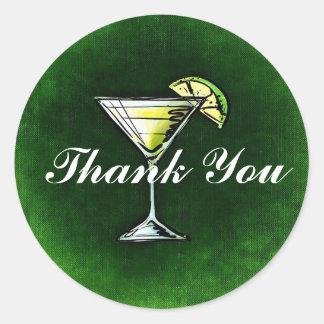 Adesivo Redondo Obrigado da gim e do tónico do cocktail você