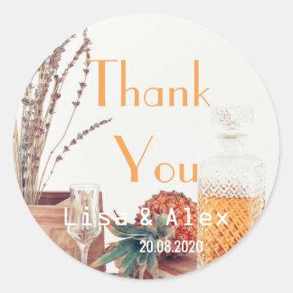 Adesivo Redondo Obrigado da lavanda do estilo de Provence você