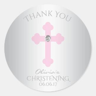 Adesivo Redondo Obrigado da menina do baptismo/batismo da cruz do