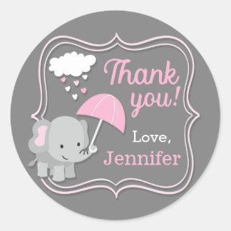 Adesivo Redondo Obrigado da menina do elefante do bebê você Tag do