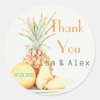 Adesivo Redondo Obrigado do abacaxi da placa da fruta você