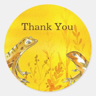 Adesivo Redondo Obrigado do amarelo da aguarela dos lagartos você