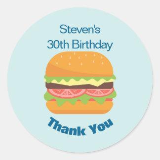 Adesivo Redondo Obrigado do aniversário da ilustração do Hamburger