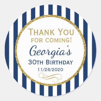 Adesivo Redondo Obrigado do aniversário do ouro dos azuis marinhos