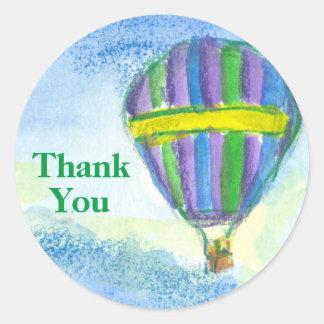 Adesivo Redondo Obrigado do balão de ar quente você