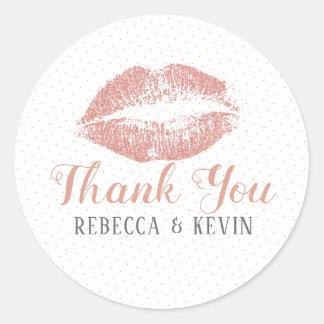 Adesivo Redondo Obrigado do beijo dos lábios dos Rosas-Gols você
