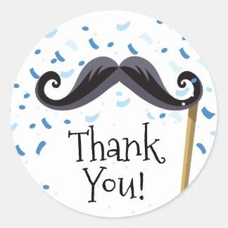 Adesivo Redondo Obrigado do chá de fraldas do bigode você favorece