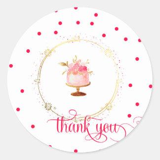 Adesivo Redondo Obrigado do cupcake do ★ você