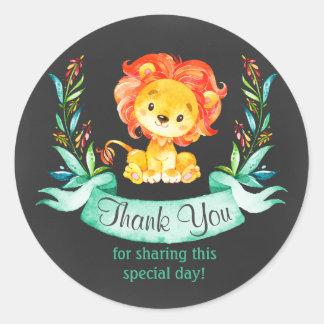 Adesivo Redondo Obrigado do leão da aguarela do quadro você