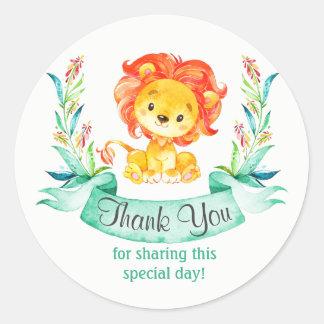 Adesivo Redondo Obrigado do leão da aguarela você