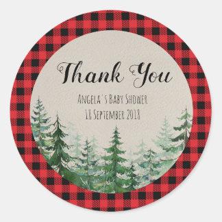 Adesivo Redondo Obrigado do lenhador da floresta da floresta você
