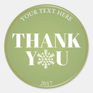 Adesivo Redondo Obrigado do Natal você branco verde do floco de