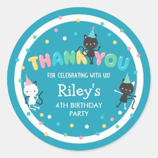 Adesivo Redondo Obrigado do partido de aniversário de criança dos