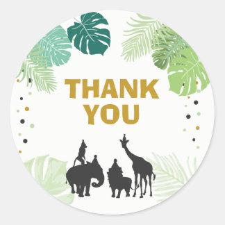Adesivo Redondo Obrigado do safari dos Tag do favor de partido do