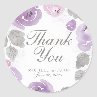 Adesivo Redondo Obrigado dos rosas da aguarela do Lilac você