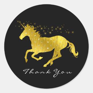 Adesivo Redondo Obrigado dourado das estrelas dos corações do