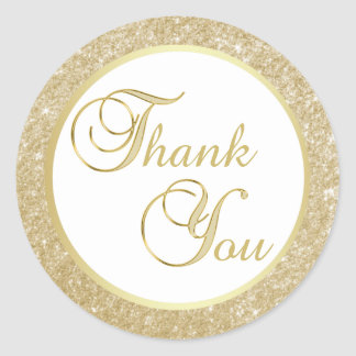 Adesivo Redondo Obrigado elegante do brilho do ouro branco você