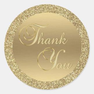 Adesivo Redondo Obrigado elegante do brilho do ouro do falso você