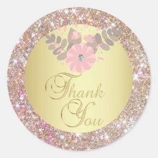 Adesivo Redondo Obrigado elegante do brilho do ouro você selos do