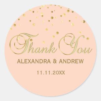 Adesivo Redondo Obrigado elegante do casamento do ouro do rosa do