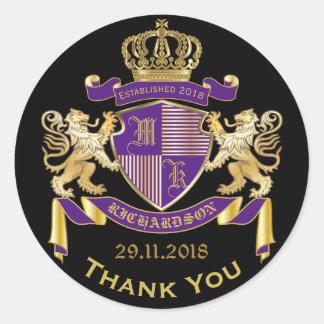 Adesivo Redondo Obrigado emblema do roxo do ouro da brasão do