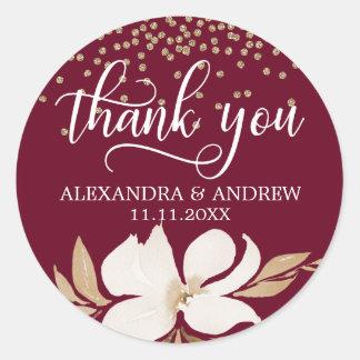 Adesivo Redondo Obrigado floral do casamento da aguarela do ouro