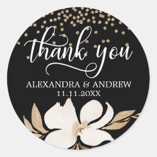 Adesivo Redondo Obrigado floral do casamento da aguarela preta do