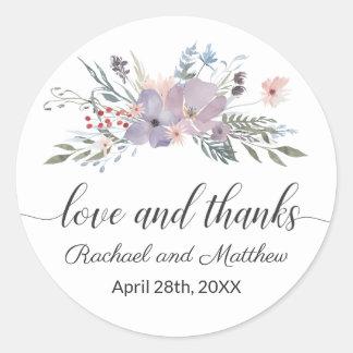 Adesivo Redondo Obrigado floral do casamento da aguarela violeta