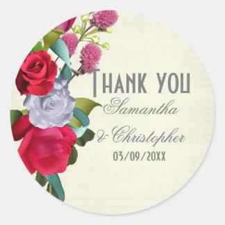 Adesivo Redondo Obrigado floral do casamento da flor cor-de-rosa