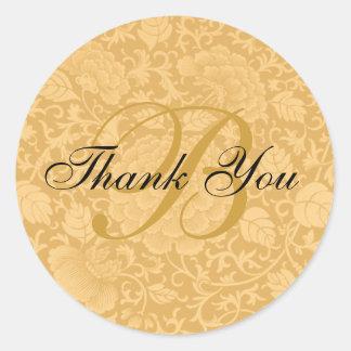 Adesivo Redondo Obrigado floral do casamento de brocado do ouro