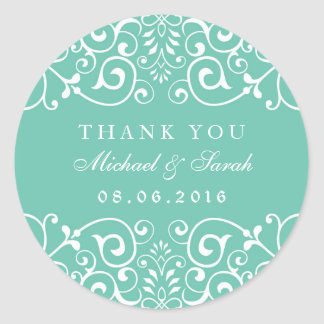 Adesivo Redondo Obrigado floral do redemoinho do azul de turquesa