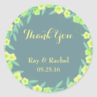 Adesivo Redondo Obrigado floral verde e azul você