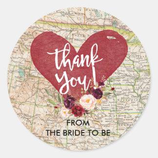 Adesivo Redondo Obrigado floral vermelho do mapa de Marsala do