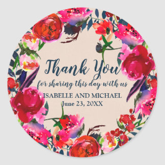 Adesivo Redondo Obrigado floral vermelho personalizado você